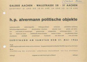 Einladung zur Ausstellungseröffnung von Hans Peter Alvermann in der Galerie Aachen