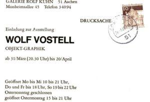 Einladung zur Ausstellungseröffnung von Wolf Vostell in der Kuhn Galerie