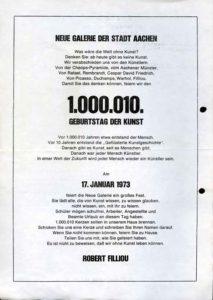 Flugblatt zur Feier des 1.000.010 Geburtstags der Kunst in der Neuen Galerie