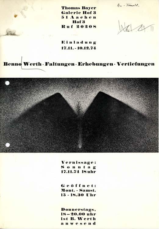 Einladung zur Ausstellungseröffnung von Benno Werth in der Galerie Hof 3