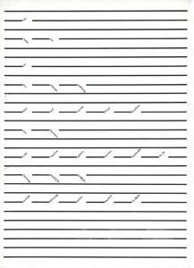 Einladung zu der Ausstellung Fünfundvierzig Grad Grafiken von Lars Harmens in der Nochnegalerie