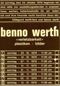 Einladung zur Ausstellungseröffnung in der Wohn-Werkstatt von Benno Werth und Hildegund Werth-Lenz