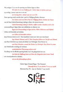 Einladung zur ersten Ausstellungseröffnung der Galerie Signe